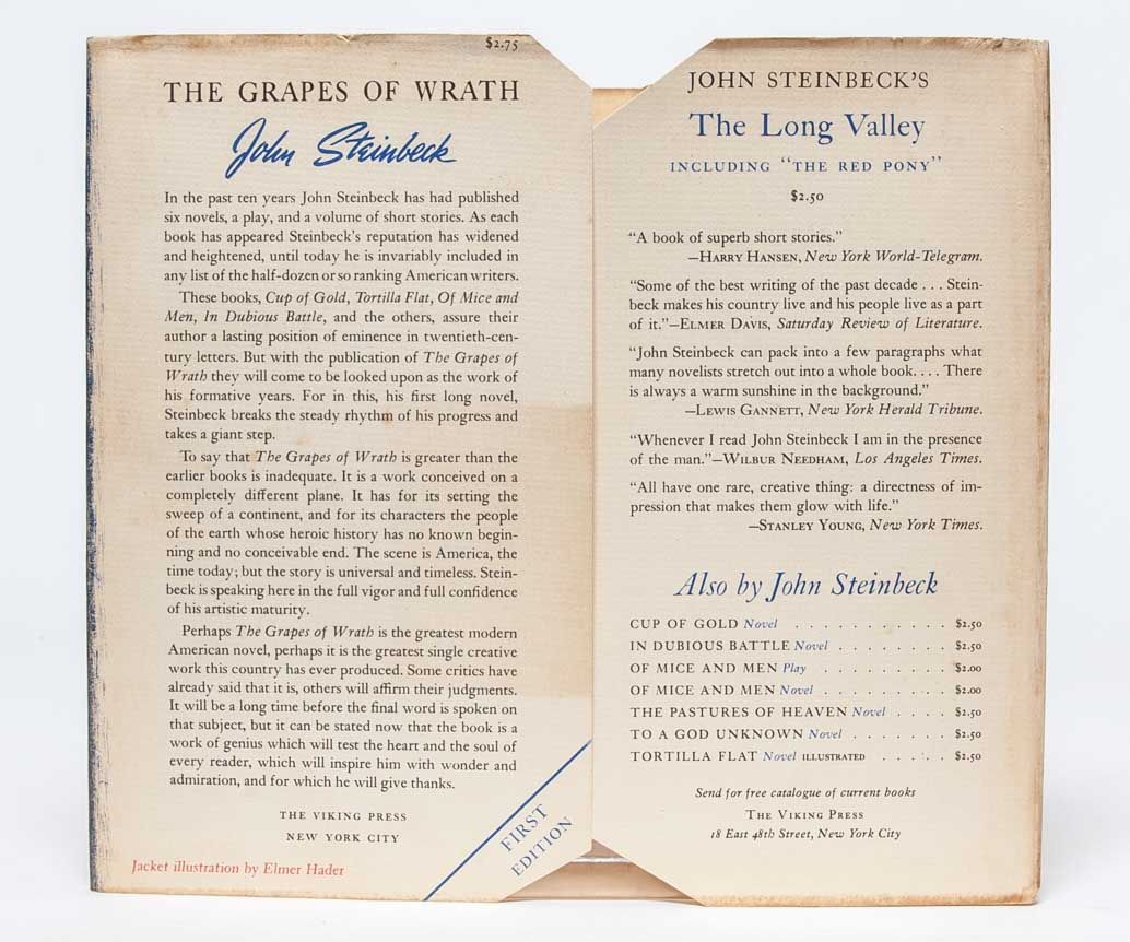 The Grapes of Wrath by John Steinbeck on Whitmore Rare Books