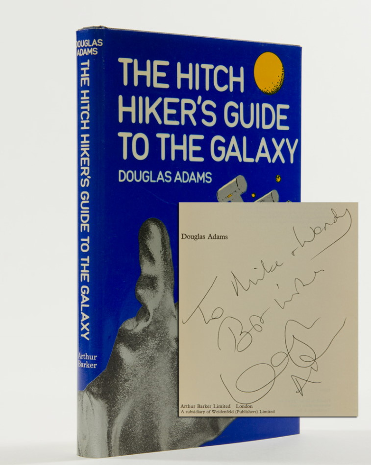 The Hitchhiker's Guide to the Galaxy (Inscribed First Edition). Douglas Adams.