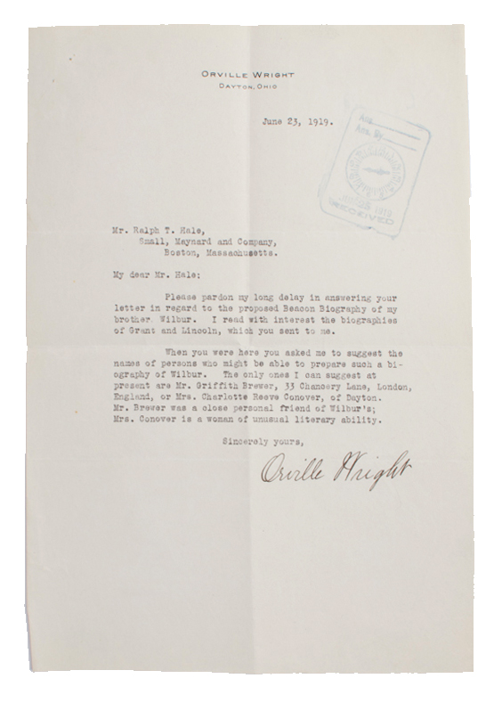 Typed Letter Signed (TLS) re: who might help prepare a biography of his brother Wilbur