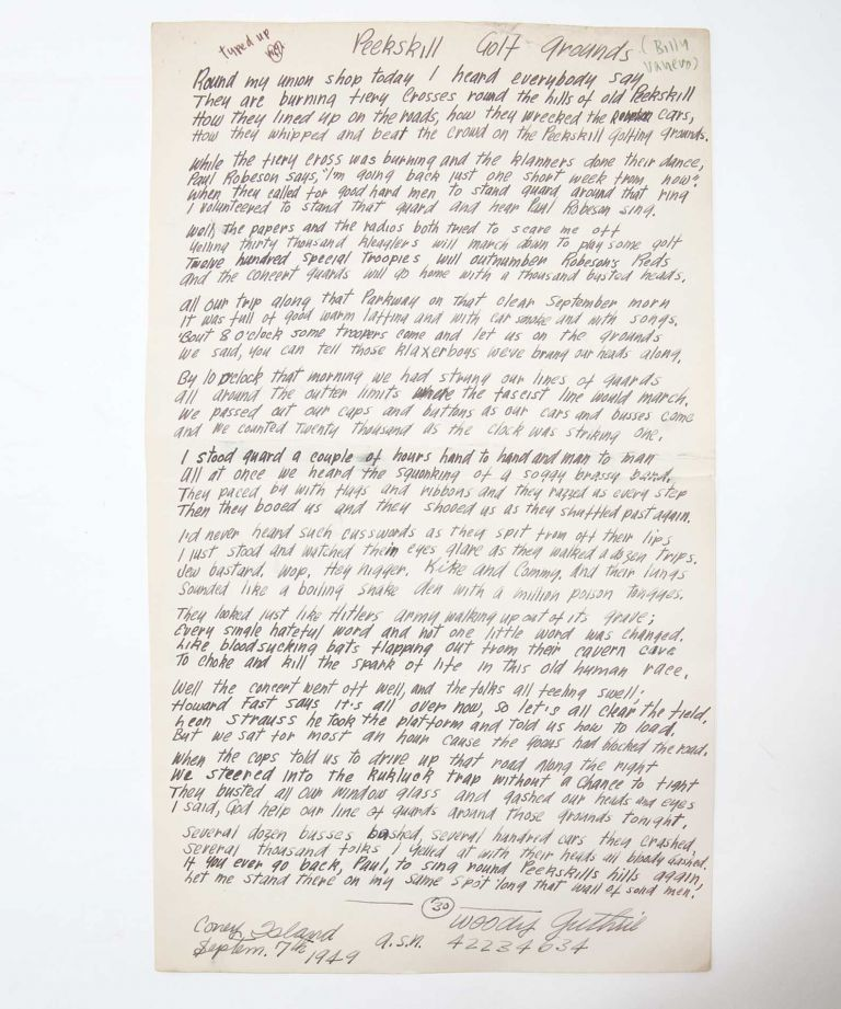 [Manuscript Song Lyrics, signed] Peekskill Golf Grounds. Woody Guthrie.