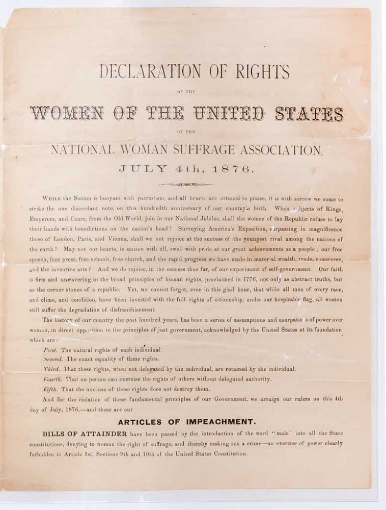 Declaration of Rights of the Women of the United States by the National Woman Suffrage Association
