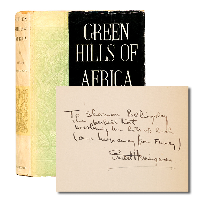 Green Hills of Africa (Inscribed first edition). Ernest Hemingway.