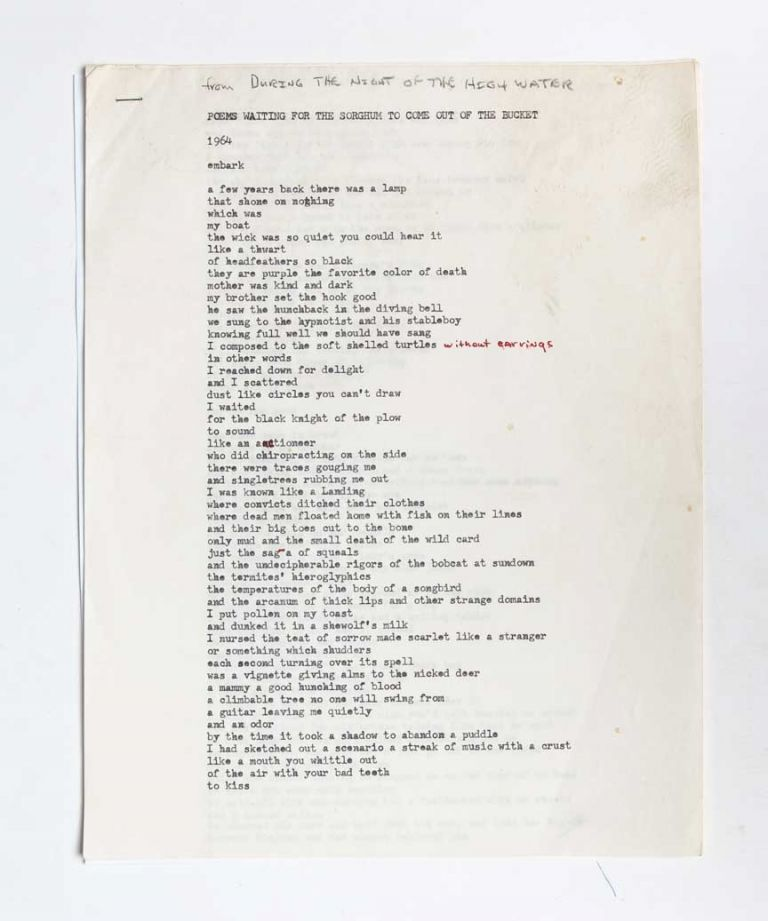 Poems Waiting for the Sorghum to Come Out of the Bucket original annotated typescript. Frank Stanford.