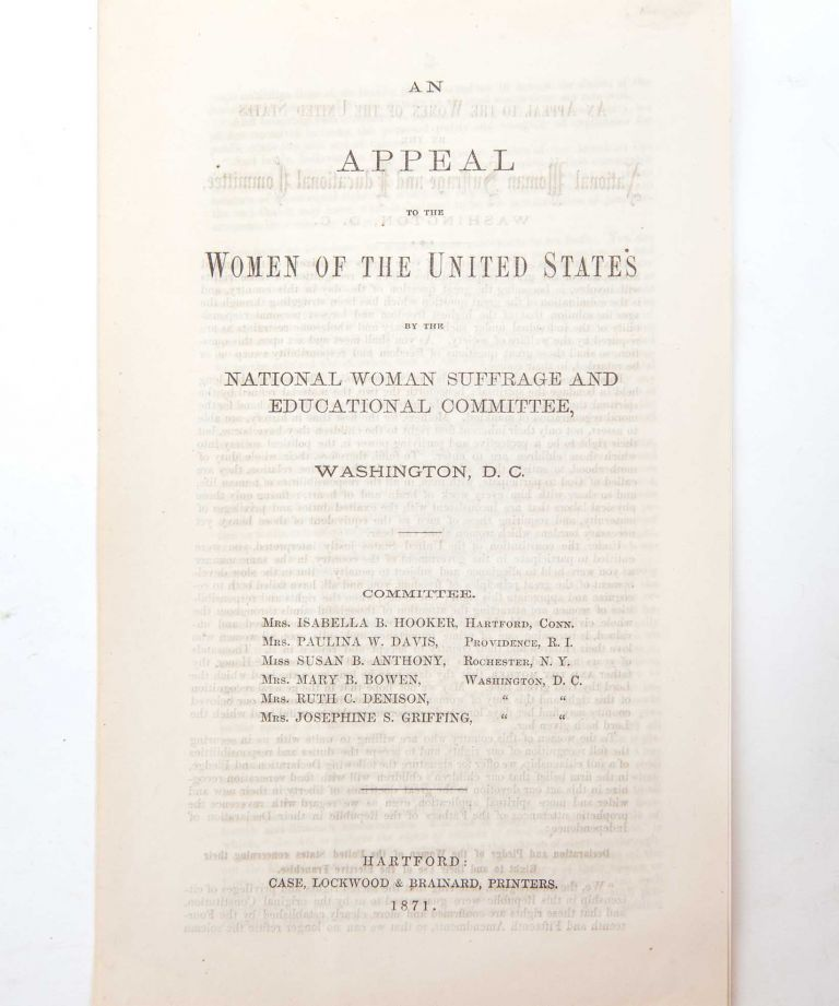 An Appeal to the Women of the United States