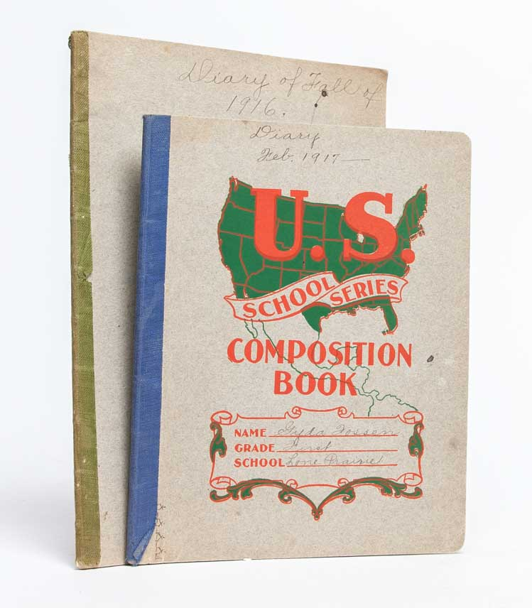Pair of World War I era journals documenting a woman's work as a teacher, mother, and farmer's...