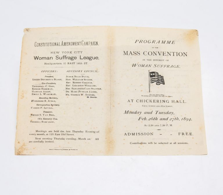 Programme of the Mass Convention in the Interest of Woman Suffrage. New York City Suffrage League.