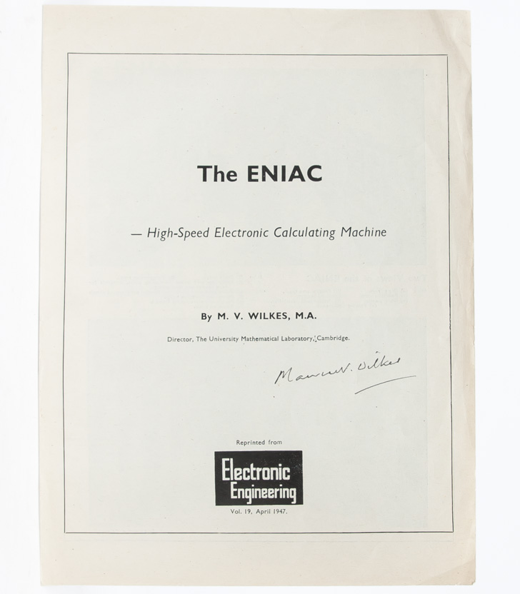 The ENIAC--high speed calculating machine. Maurice Wilkes.
