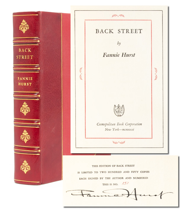 Back Street (Signed Ltd. Edition). Fannie Hurst.