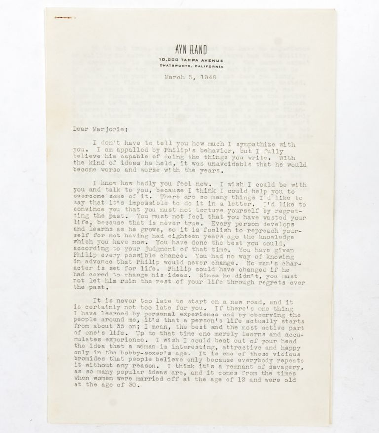 Typed letter signed giving a friend advice on her novel and discussing The Fountainhead and Atlas...
