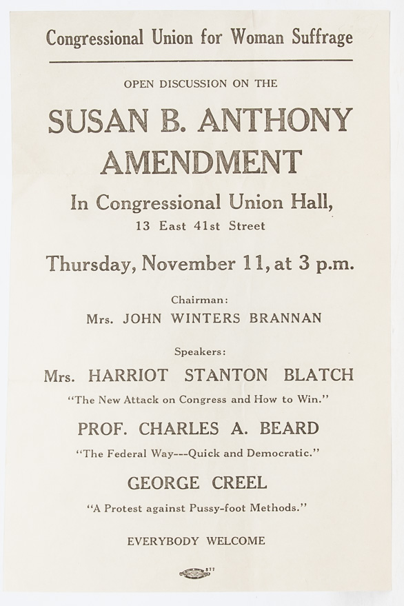 Open Discussion on the Susan B. Anthony Amendment. In Congressional Union Hall, 13 East 41st Street
