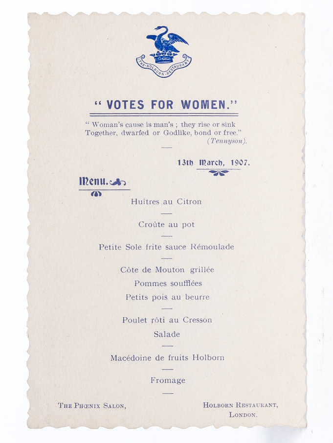 """Votes for Women"" Menu"