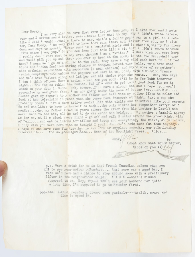 Typed Letter Signed while in Mexico visiting exiled fellow Beat writer William S. Burroughs. Jack Kerouac.