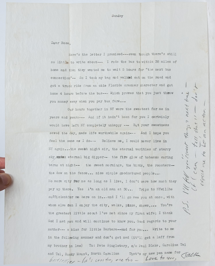 Typed Letter Signed on his return home from visiting William S. Burroughs in Mexico, reflecting...