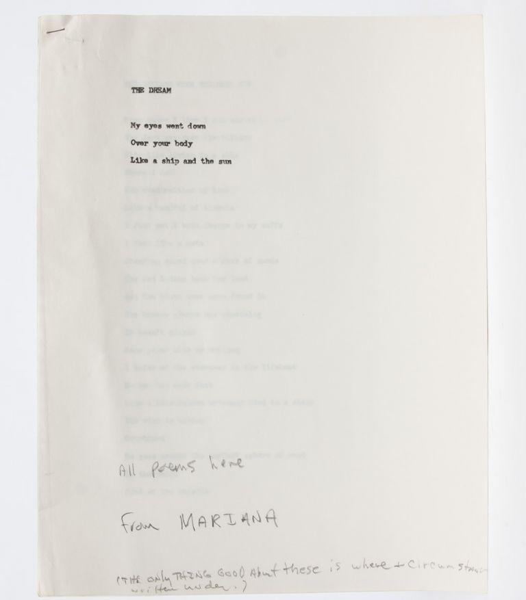 Original working copy of his abandoned Mariana poems