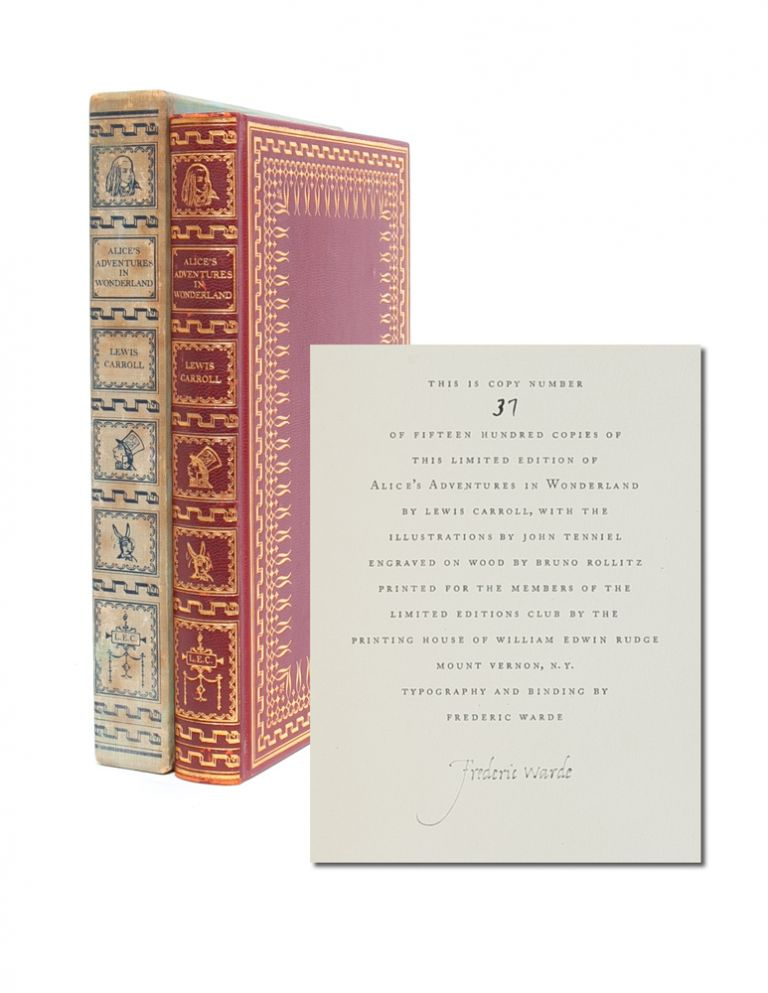 Alice's Adventures in Wonderland (Signed by Frederic Warde). Lewis Carroll.