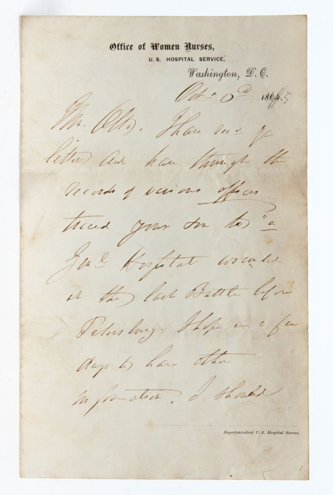 Handwritten letter helping a father locate his wounded son following the Siege of Petersburg. Women in Medicine, Dorothea Dix.