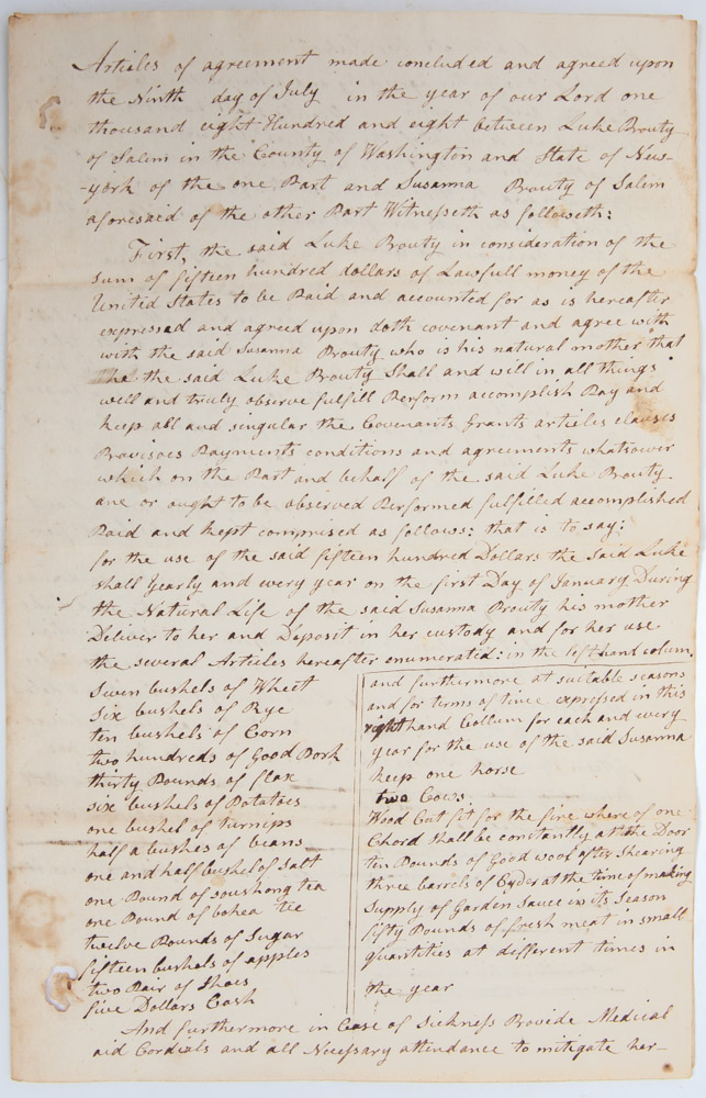 Manuscript bond and articles of agreement securing Susanna Prouty's financial, medical, and residential stability. Women's Social History, Susanna Prouty.