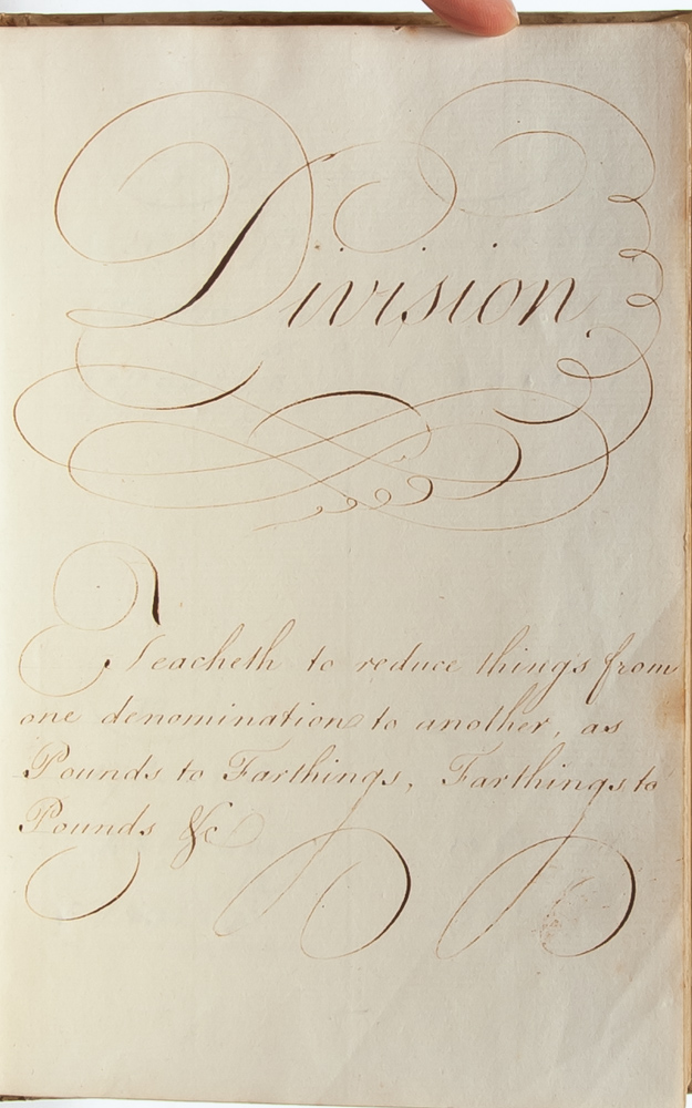 Calligraphic arithmetic book by an unmarried 18th century woman. Women in Mathematics, Miss Vavasour.
