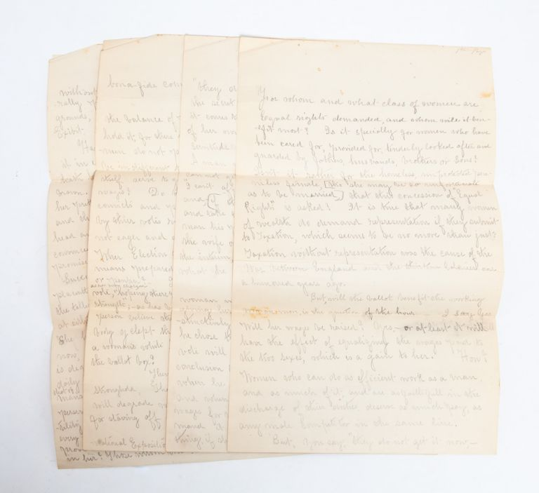 Manuscript Speech in Support of Women's Rights, Connecting the Vote to Income Equality. Woman Suffrage, Anonymous.