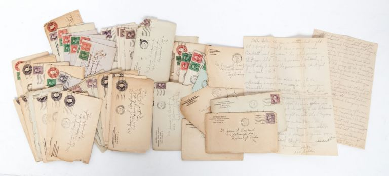Collection of 44 handwritten letters, documenting a young couple's courtship in the modern world. Women's Social History, Sarah Frances Lotta, Courtship.