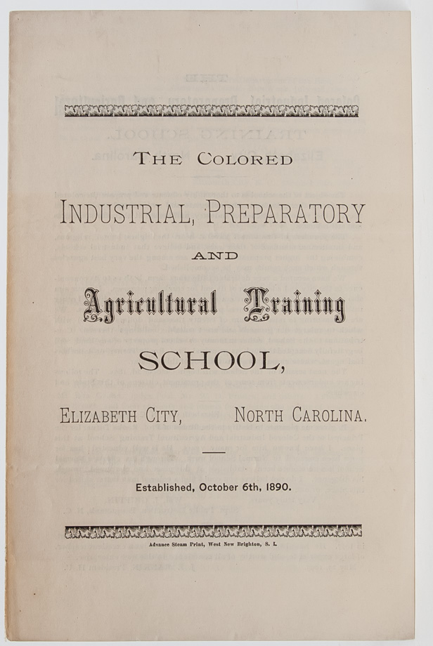The Colored Industrial, Preparatory and Agricultural Training School. BIPOC, African American Education.
