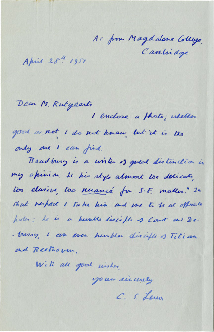Autograph letter signed by C. S. Lewis from 1958, discussing the author's reaction to young author Ray Bradbury