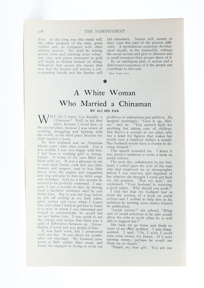 A White Woman who Married a Chinaman. The Independent. AAPI, Sui Sin Far, Edith Maude Eaton.