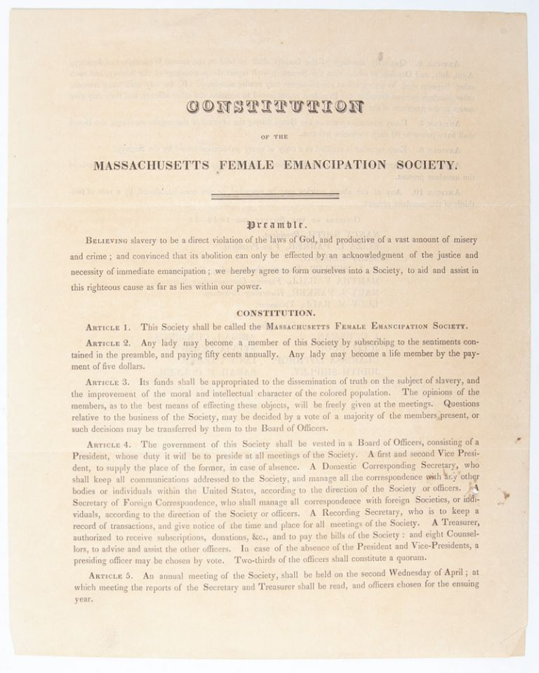 Constitution of the Massachusetts Female Emancipation Society. Abolition, Women's Activism.