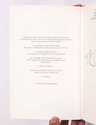 Harry Potter and the Goblet of Fire (Signed First Edition)