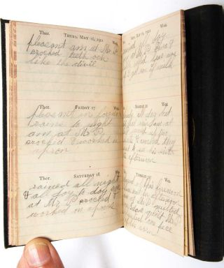 Archive of 10 handwritten diaries from Sarah Ann Sargent, 1882-1912