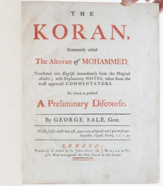 The Koran, Commonly called The Alcoran of Mohammed...