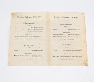 Programme of the Mass Convention in the Interest of Woman Suffrage