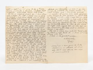"""Autograph Letter Signed (ALS) to a friend about his """"creative powers"""" and being """"ready to work"""""""