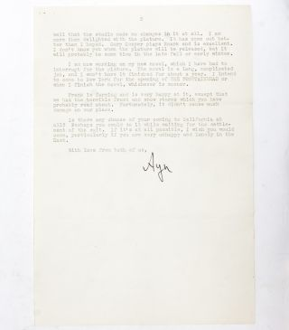 Typed letter signed giving a friend advice on her novel and discussing The Fountainhead and Atlas Shrugged