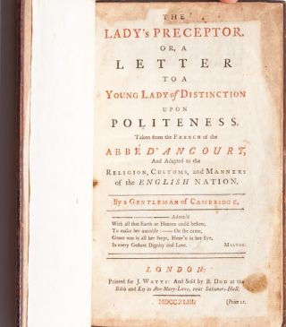 Image 4 of 7 for The Lady's Preceptor, Or a Letter to a Young Lady of Distinction upon Politeness