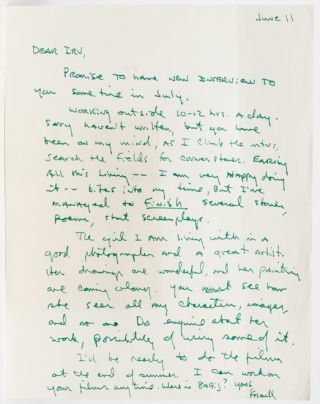 Image 1 of 1 for Autograph Letter Signed to his publisher about finding balance between his day...