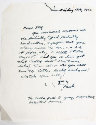 Image 2 of 6 for The largest known collection of Frank Stanford letters, with content on his...