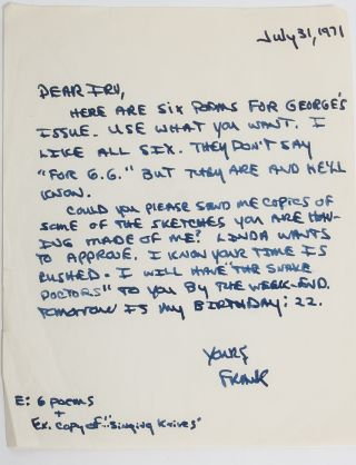 Image 3 of 6 for The largest known collection of Frank Stanford letters, with content on his...