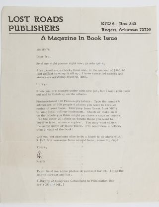 Image 6 of 6 for The largest known collection of Frank Stanford letters, with content on his...