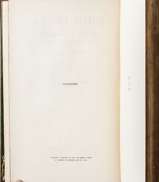 Image 7 of 9 for John Keats: His Life and Poetry, His Friends and Critics, and After Fame [Cosway...