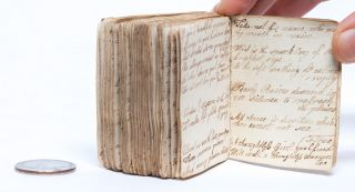 Image 4 of 5 for A pocket book kept close and recording notes on etiquette, and poetry on women's...