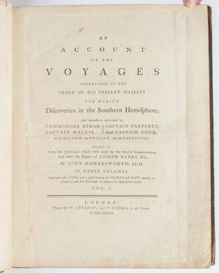 Complete set of Cook's Voyages: An Account of the Voyages undertaken by the order of His Present Majesty for making Discoveries in the Southern Hemisphere, and successively performed by Commodore Byron, Captain Wallis, Captain Carteret and Captain Cook, in the Dolphin, the Swallow, and the Endeavour. [Together with:] A Voyage towards the South Pole, and Round the World. Performed in His Majesty's Ships the Resolution and Adventure, in the years 1772, 1773, 1774 and 1775 [Together with:] A Voyage to the Pacific Ocean. Undertaken by the command of His Majesty, for making Discoveries in the Northern Hemisphere.
