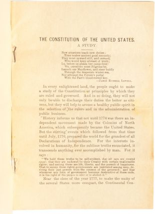The Constitution of the United States. A Study.