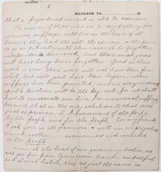 Handwritten suffrage speech from Pennsylvania's Justice Bell tour and the push for amendment ratification