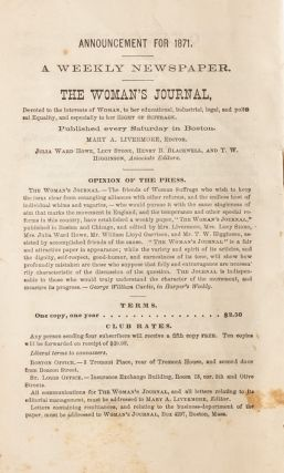 Equal Rights for Women, A Speech by George William Curtis [with] New England Woman Suffrage Association Constitution