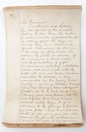 Manuscript Suffrage Society Speech for Independence Day, 1884, to an Activist Gathering