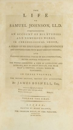 Image 3 of 4 for The Life of Samuel Johnson, LL.D. (in 3 vols). Comprehending an Account of His...