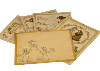 Image 1 of 1 for Kate Greenaway's Calendar for 1884. [A set of four cards in original printed...