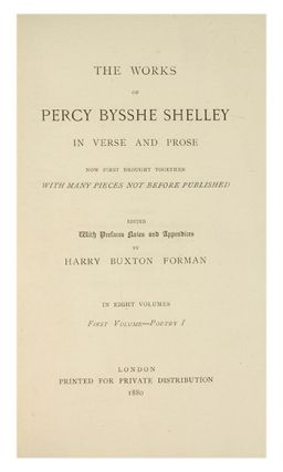 Image 3 of 4 for The Poetical Works of Percy Bysshe Shelley [with] The Prose Works of Percy...