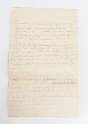 Manuscript Speech in Support of Women's Rights, Connecting the Vote to Income Equality